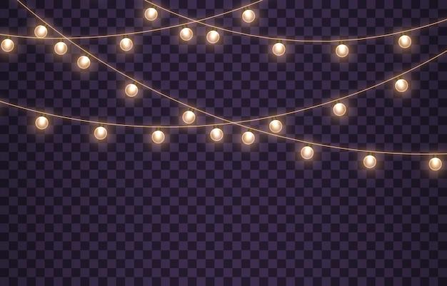Goldene lampengirlande glühende lichter für weihnachtsferien