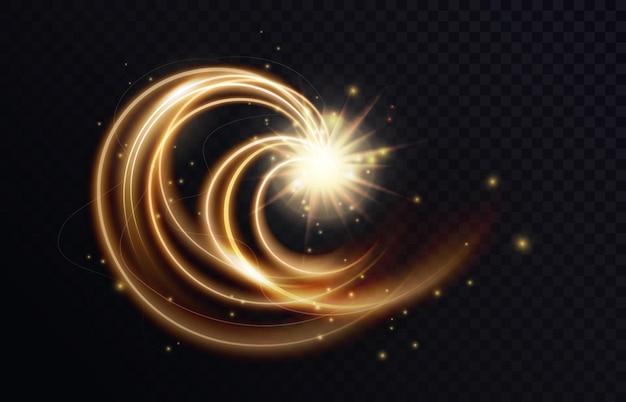 Goldene leuchtende wirbelform abstrakter lichteffekt funkelnde neonspur von fliegenden sternen