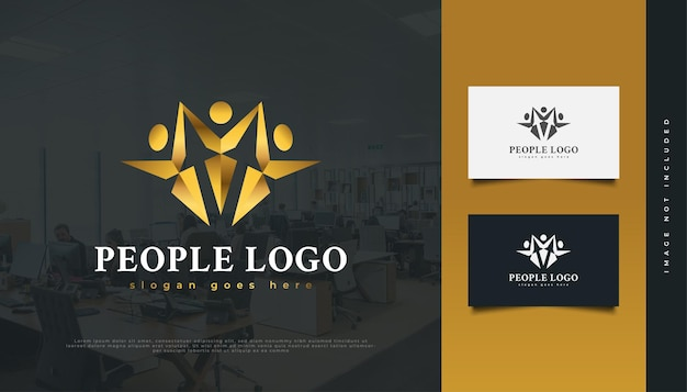 Goldene leute-logo. menschen, community, netzwerk, creative hub, gruppe, social connection logo oder symbol für business identity Premium Vektoren