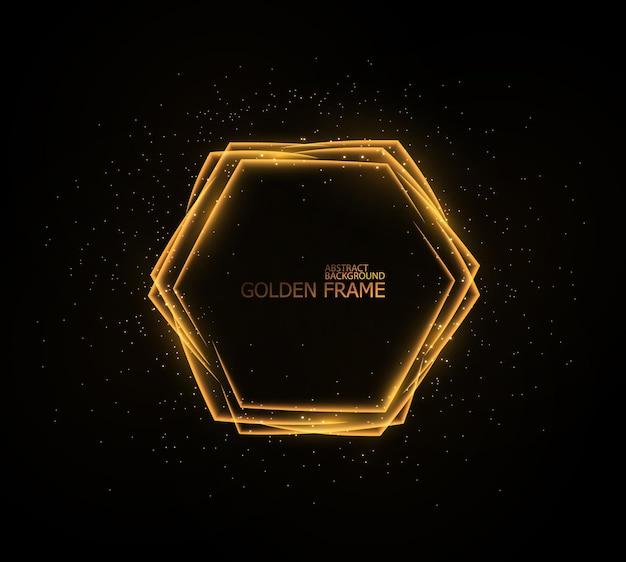 Goldene lichtrahmen setzen blitzlichteffekt-teements isoliert auf schwarz