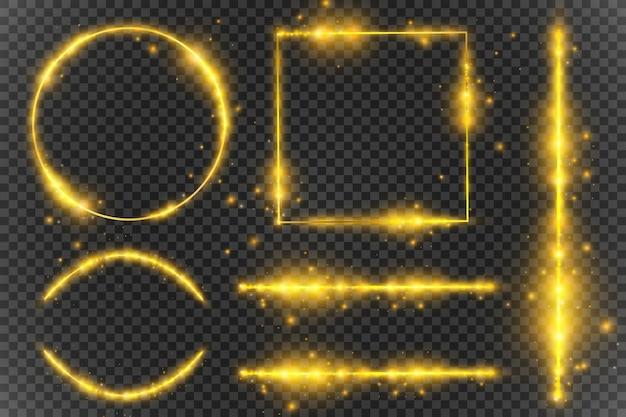 Goldene lichtrahmen und designelemente. schöne rahmen. leichte banner.