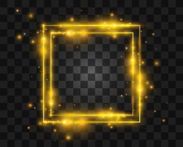 Goldene lichtrahmen und elemente. schöne rahmen. leichte banner.