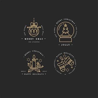Goldene lineare design-weihnachtsgrußelemente auf weißem hintergrund