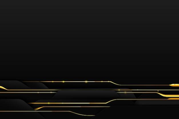 Goldene linie des abstrakten hintergrundes mit dunkelheit und schwarzem