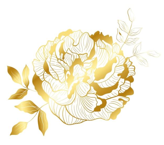 Goldene linie pfingstrose im orientalischen trend