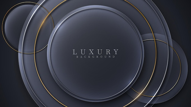 Goldene linien des kreises funkeln luxus auf schwarzem hintergrund, modernes konzept des coverdesigns, vektorillustration.