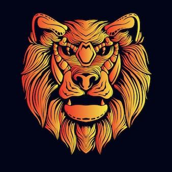 Goldene löwenkopfillustration