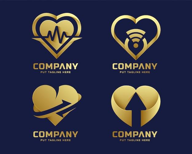 Goldene logo-sammlung der erstklassigen luxusherzliebe