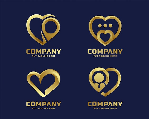Goldene logosammlung der kreativen herzliebe