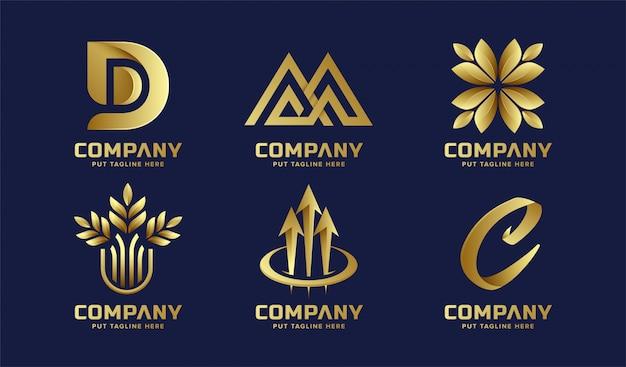 Goldene logosammlung des abstrakten geschäfts