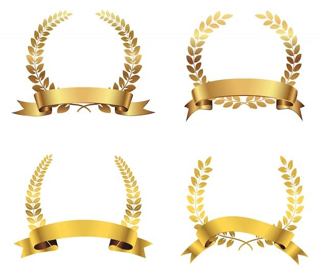 Goldene lorbeerkränze gesetzt