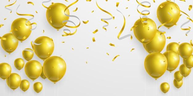Goldene luftballons, bänder und konfettis