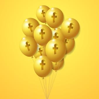 Goldene luftballons des facebook-logos eingestellt Premium Vektoren