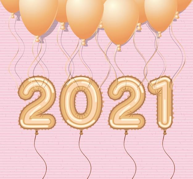 Goldene luftballons für ein frohes neues jahr
