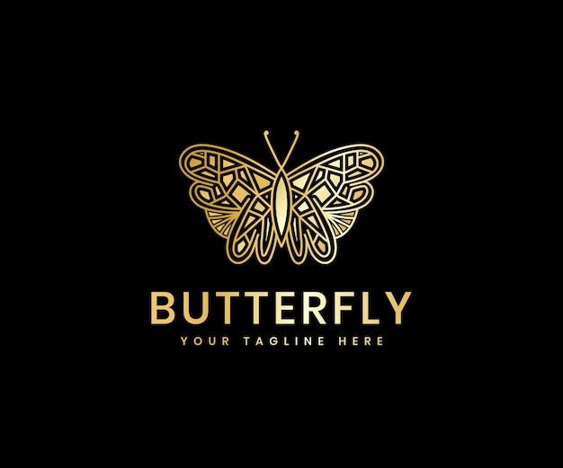 Goldene luxuriöse weibliche schönheit schmetterlingslinie luxus-logo-design-vorlage für kosmetikmarke