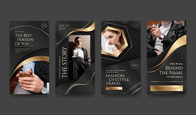 Goldene luxus-instagram-geschichten mit farbverlauf