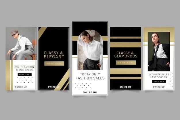 Goldene luxus-instagram-posts mit farbverlauf mit foto