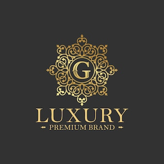 Goldene luxus-logo-design-vektor-schablone