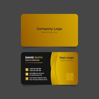 Goldene luxus-visitenkarte mit farbverlauf doppelseitig Premium Vektoren