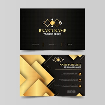 Goldene luxus-visitenkarten mit farbverlauf