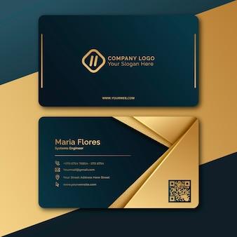 Goldene luxus-visitenkartenschablone mit farbverlauf