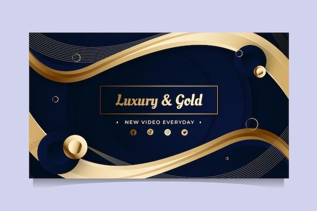 Goldene luxus-youtube-kanal-kunstvorlage mit farbverlauf