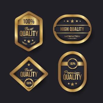 Goldene luxusabzeichen mit farbverlauf
