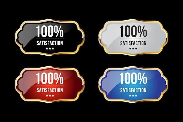 Goldene luxusabzeichen und -etiketten für 100% premiumqualität und zufriedenheit
