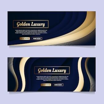 Goldene luxusbanner mit farbverlauf eingestellt