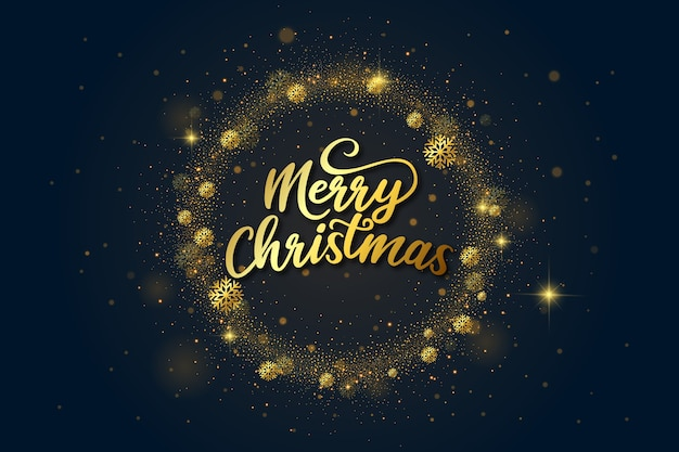 Goldene luxusbeschriftung der frohen weihnachten