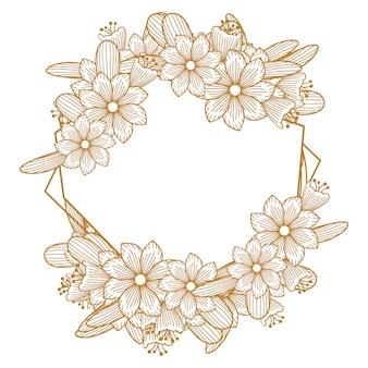 Goldene luxusblumen-floristen-hochzeits-linie rahmen-verzierung