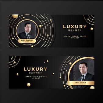 Goldene luxusfahnen mit farbverlauf mit foto