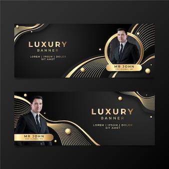 Goldene luxusfahnen mit farbverlauf