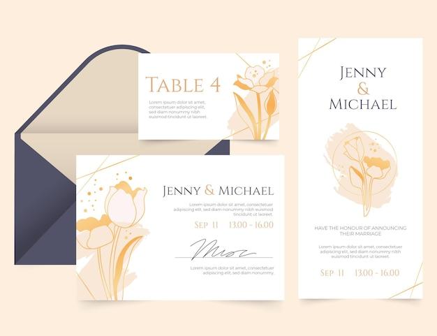 Goldene luxushochzeitsbriefpapierschablone mit farbverlauf