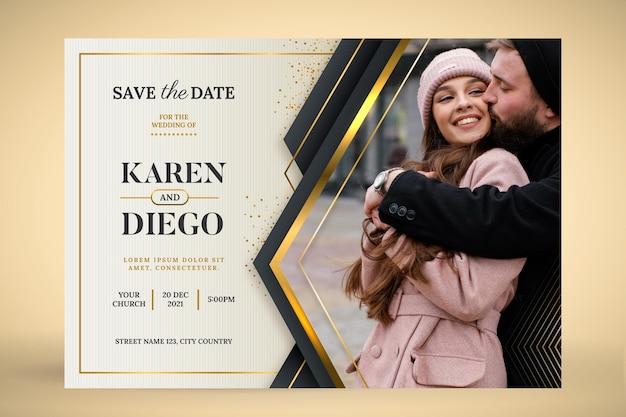 Goldene luxushochzeitseinladung mit farbverlauf mit foto