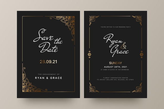 Goldene luxushochzeitseinladung mit farbverlauf
