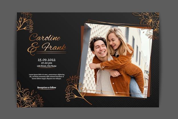 Goldene luxushochzeitseinladungsschablone der steigung mit foto