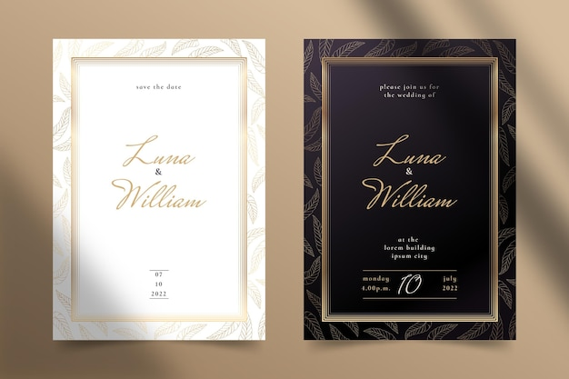 Goldene luxushochzeitseinladungsschablone mit farbverlauf
