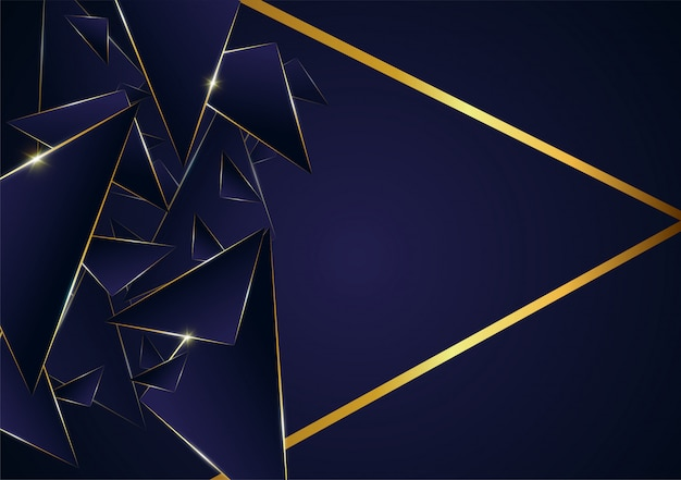 Goldene luxuslinie des abstrakten polygonalen musters