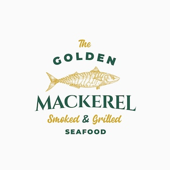 Goldene makrele geräucherte und gegrillte meeresfrüchte. abstrakte zeichen-, symbol- oder logo-vorlage.
