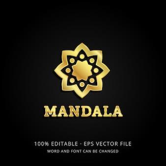 Goldene mandala-logo-schablone 3d mit bearbeitbarem text