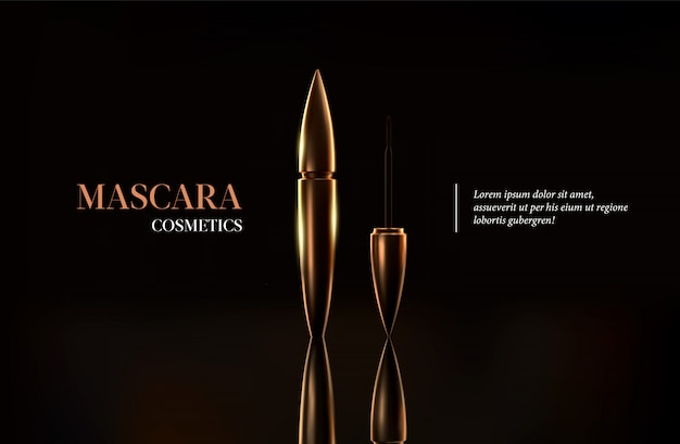 Goldene mascara-flasche der stilvollen mode. pinsel und mascara tube.