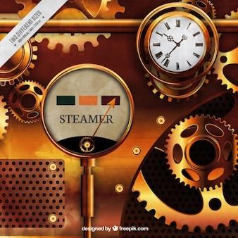 Goldene maschine in steampunk-stil