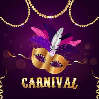 Goldene maske des karnevals auf lila hintergrund