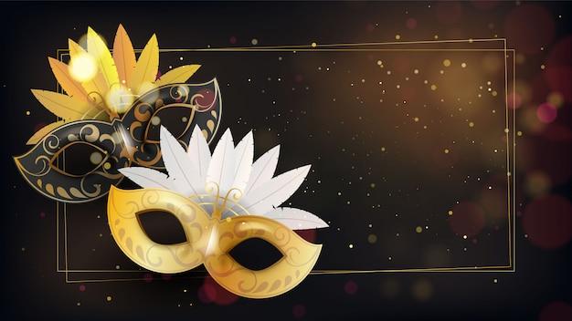 Goldene maske mit glitzer