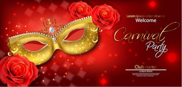 Goldene maske und rote rose