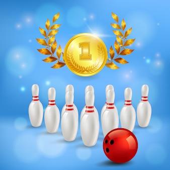 Goldene medaille der zusammensetzung des bowlingspielsiegs 3d mit lorbeerstiften und ball auf unscharfem blau