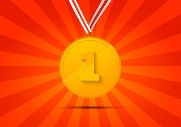 Goldene medaille für den ersten platz auf rotem gestreiftem hintergrund