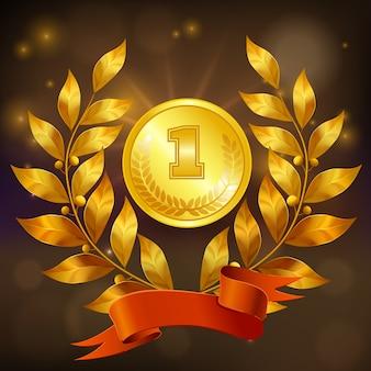 Goldene medaille mit lorbeerkranz und realistischer zusammensetzung des roten bandes