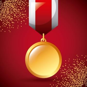 Goldene medaille preis gewinnen band dekoration